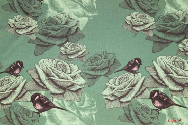 Jersey Romantic Roses and Birds grün (10 cm)