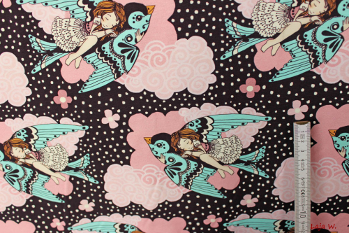 "Sweat- Jersey  ""Birds and fairy"" (10 cm)"